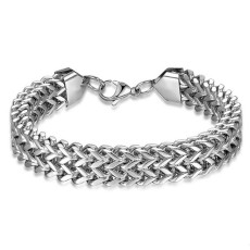 Square fish scale men's stainless steel bracelet