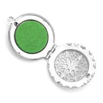Collier de boîte d'aromathérapie de photos imprimées en acier inoxydable conçu sur mesure avec joint d'aromathérapie