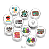 20MM  Howdy  fall  letter  Print  glass  snaps buttons