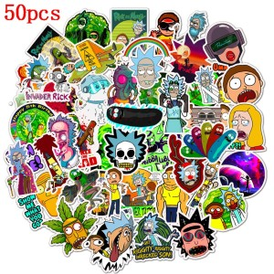 Contains 50 pieces of rick and morty cartoon stickers for suitcases and guitar personality decoration waterproof stickers