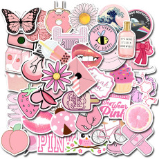 Contains 50 non-repeatable cute pink small fresh VSCO wind stickers laptop luggage graffiti waterproof stickers