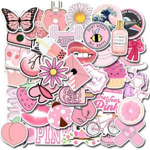 Enthält 50 nicht wiederholbare süße rosa kleine frische VSCO Wind Aufkleber Laptop Gepäck Graffiti wasserdichte Aufkleber