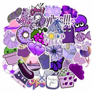 Contains 50 purple small fresh cartoon cute stickers luggage laptop personalized graffiti waterproof stickers
