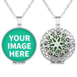 Maßgeschneiderte Edelstahl-Gedruckte Foto-Aromatherapie-Box-Halskette mit Aromatherapie-Dichtung