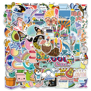 Contains 100 cute cartoon small fresh stickers, suitcase laptop decoration waterproof stickers