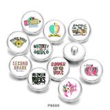 20MM Ribbon  Flower  Print glass snaps buttons