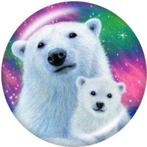 20MM Mama Bear Cat Horse Print boutons pression en verre