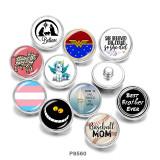 20MM  pig  Unicorn  MOM  Print  glass  snaps  buttons