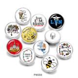 20MM  honeybee  mermaid  Print glass snaps buttons