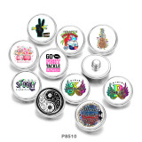 20MM  Tai Chi  letter  Print glass snaps buttons