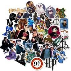 Contains 50 unique Harry Potter personalized graffiti stickers, PVC cartoon stickers, suitcase guitar, car waterproof stickers