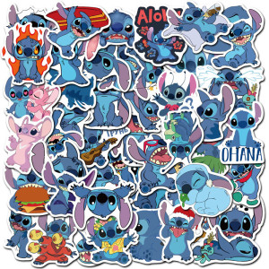 Contains 50 non-repeatable cute cartoon Stitch stickers, kids toy stickers, luggage graffiti stickers, waterproof stickers