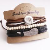 Ensemble de bracelets en cuir 1 boutons en cuir nouveau type Bracelet strass fit 20mm boutons-pression