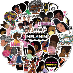 Contains 50 singer Melanin Poppin stickers animated stickers waterproof skateboard personalized luggage computer waterproof stickers