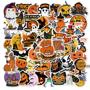 Contains 50 pieces of Halloween holiday decoration graffiti stickers luggage computer waterproof stickers without leaving glue stickers DIY
