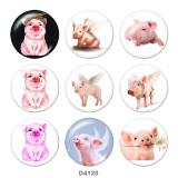 Стеклянные кнопки с принтом свиньи 20 мм