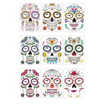 Funny Makeup Temporary Stickers for Day of the Dead Masquerade Halloween Face Tattoo Waterproof Stickers