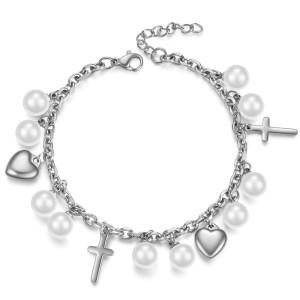 Love Cross Pearl Stainless Steel Bracelet