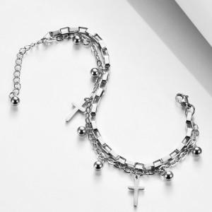 Stainless Steel Bracelet Cross Double Bracelet