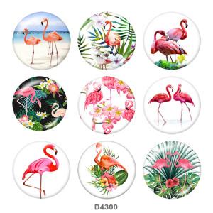 20MM Flamingo Print glass snaps buttons Beach Ocean LOVE