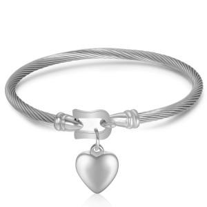 Stainless steel horseshoe buckle bracelet love heart pendant bracelet