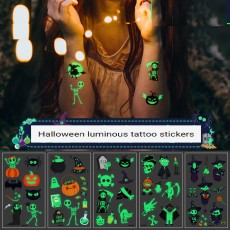 Waterproof and sweat-proof long-lasting fluorescent green luminous cartoon tattoo stickers Halloween tattoo waterproof stickers