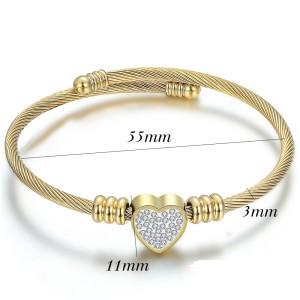 Full diamond heart-shaped love three-color stainless steel braided open bracelet
