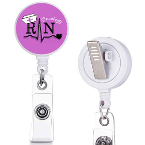 Nurse  RN  love  print  pattern  Rotary clip telescopic easy pull buckle certificate buckle 3.2cm