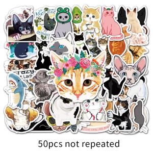 50 dessin animé mignon chat graffiti autocollants cahier personnalité main compte scooter voiture réfrigérateur décoration autocollants étanches