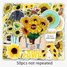 50 non-infringement sunflower sunflower ins wind graffiti stickers laptop car DIY decorative waterproof stickers