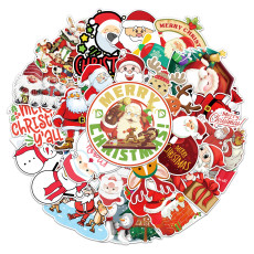 50 Christmas Doodle Stickers Holiday Stickers Skateboard Water Cup Suitcase Waterproof Stickers