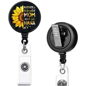 Mama Nana  love  print pattern  Rotary clip telescopic easy pull buckle certificate buckle 3.2cm