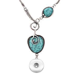 Collier de style bohème exotique antique plaqué argent en alliage d'escargot coeur de pêche turquoise s'adapter à des morceaux de pression de 18 mm