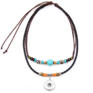 Collier pendentif personnalisé turquoise collier simple bijoux s'adapter à des morceaux de pression de 18 mm