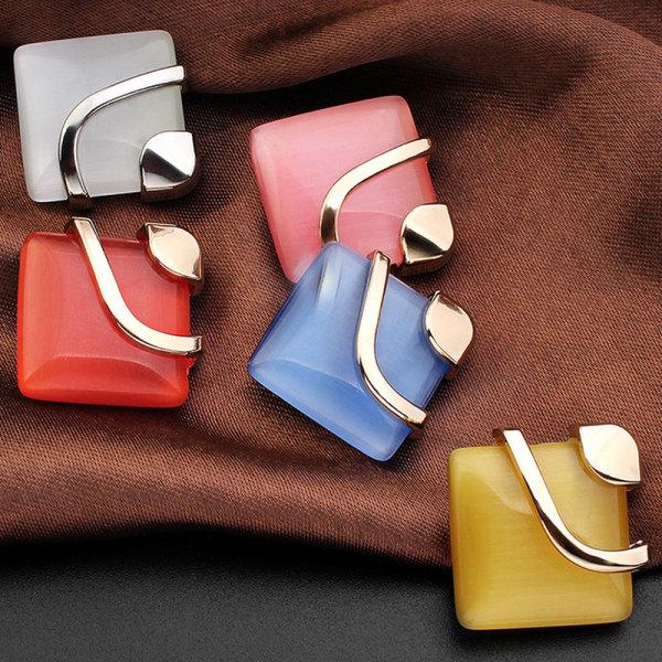Брелки-кнопки с квадратным металлическим опалом, 20 мм, посеребренные, Multicolor