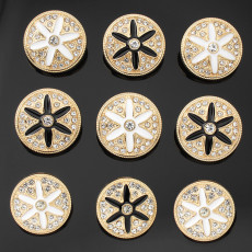 22mm metal dripping with rhinestones silver plated snap charms