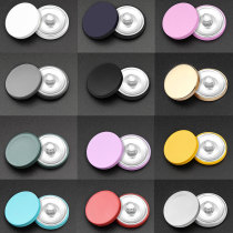 Breloques à pression plaquées argent à surface plane multicolore en métal de 20 mm Multicolore