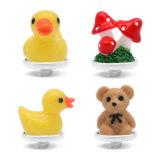 18MM Cartoon Weihnachtsgeschenk Einhorn Bär Gelbe Ente Pilz Metall versilbert Snap Charms Multicolor Kinder