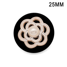 23mm20mm Perle strass résine plaqué argent breloques pression