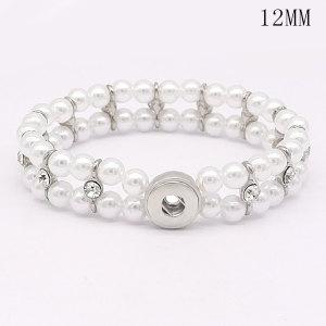 Snap Silver Pearl Stretch-Armband für 12MM Druckknöpfe im Stil von Schmuck