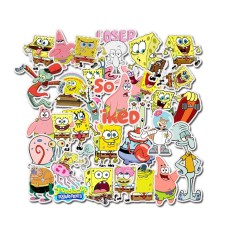 50 SpongeBob Cute Cartoon Stickers Graffiti Waterproof Skateboard Stickers Personalized Luggage Computer Stickers
