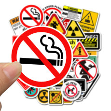 50 warning signs graffiti stickers personalized decoration trolley luggage car stickers waterproof stickers