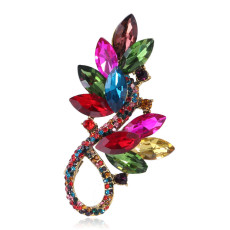 Broche en verre cristal coloré Accessoires vestimentaires tempérament haut de gamme
