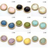 Encantos a presión chapados en plata multicolor de gelatina redonda de metal de 21 mm