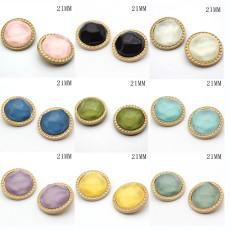 Металлические круглые подвески из желе-золота 21 мм, разноцветные посеребренные кнопки