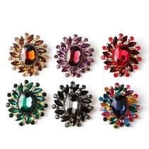 Broche en verre cristal Broche en alliage rétro Broche en cristal de couleur Multicolore en option nouveau