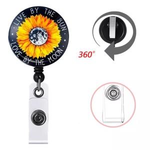 Motif d'impression de chat de fleur Clip rotatif boucle de traction facile télescopique boucle de certificat 3.2cm