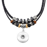Collier vintage populaire européen et américain, collier tressé en cuir argenté caché pour des morceaux de pression de 18 mm