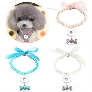 ペットアクセサリー、パールネックレス、猫と犬の首輪、骨のペンダント、中小型犬は1 18&20MMスナップバットトムスナップジュエリーに適合