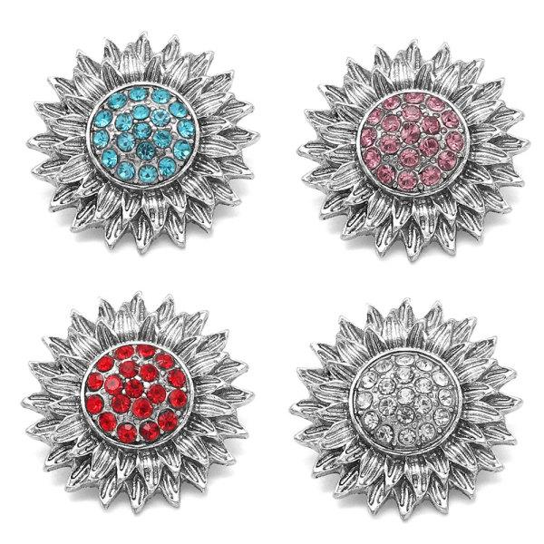 Diseño de girasol de 20 mm de varios colores con botones a presión de diamantes de imitación